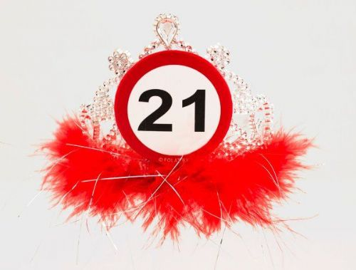 Traffic Sign 21st Party Tiara With Feathers Birthday Novelty Hat Crown Gift